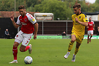 Fleetwood Town's Wes Burns gets away from Oxford United's Luke Garbutt<br /> <br /> Photographer David Shipman/CameraSport<br /> <br /> The EFL Sky Bet League One - Oxford United v Fleetwood Town - Saturday August 11th 2018 - Kassam Stadium - Oxford<br /> <br /> World Copyright &copy; 2018 CameraSport. All rights reserved. 43 Linden Ave. Countesthorpe. Leicester. England. LE8 5PG - Tel: +44 (0) 116 277 4147 - admin@camerasport.com - www.camerasport.com