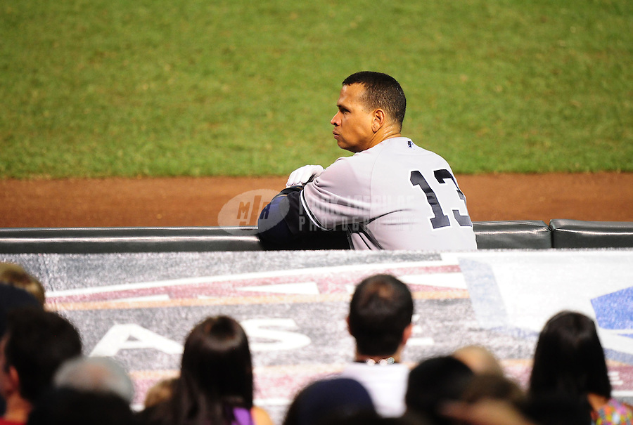 Jun. 23, 2010; Phoenix, AZ, USA; New York Yankees third baseman Alex Rodriguez against the Arizona Diamondbacks at Chase Field. Mandatory Credit: Mark J. Rebilas-