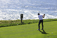 Green Bay Packers NFL quarterback Aaron Rodgers tees off the 8th tee at Pebble Beach Golf Links during Saturday's Round 3 of the 2017 AT&amp;T Pebble Beach Pro-Am held over 3 courses, Pebble Beach, Spyglass Hill and Monterey Penninsula Country Club, Monterey, California, USA. 11th February 2017.<br /> Picture: Eoin Clarke | Golffile<br /> <br /> <br /> All photos usage must carry mandatory copyright credit (&copy; Golffile | Eoin Clarke)
