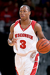 MADISON, WI - OCTOBER 24: Guard Trevon Hughes #3 of the Wisconsin Badgers handles the ball during the red/white scrimmage at the Kohl Center on October 24, 2006 in Madison, Wisconsin. The White team defeated the Red team 72-69. (Photo by David Stluka)