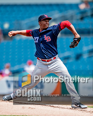 22 July 2018: Louisville Bats pitcher Keury Mella on the mound against the Syracuse SkyChiefs at NBT Bank Stadium in Syracuse, NY. The Bats defeated the Chiefs 3-1 in AAA International League play. Mandatory Credit: Ed Wolfstein Photo *** RAW (NEF) Image File Available ***