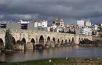 Roman bridge on the Guadiana River, built during the 1st Century BC, to establish the way out of the city through the north; length 792 meters; 60 arches; Largest ever built in the Antic Hispania, Merida (Augusta Emerita, Capital of Hispania Ulterior), Extremadura, Spain