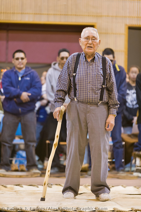 Native Inupiaq elder comments before the dancing festival which closes the Nalukataq festival, celebrating a successful spring subsistence whale hunt.