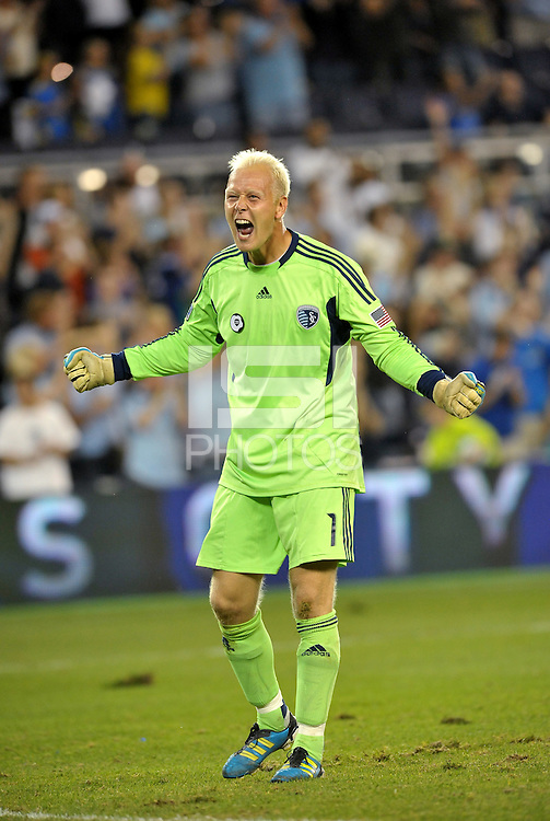 Sporting KC galkeeper Jimmy Nielson celebrates at the final whistle... Sporting Kansas City defeat Columbus Crew 2-1 at LIVESTRONG Sporting Park, Kansas City, Kansas.