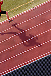 A photo of a man running on a track while training in Reno in Nevada