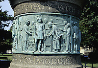 Newport, Rhode Island.A frieze on the Commodore Mathew Perry monument in Touro Park (1868