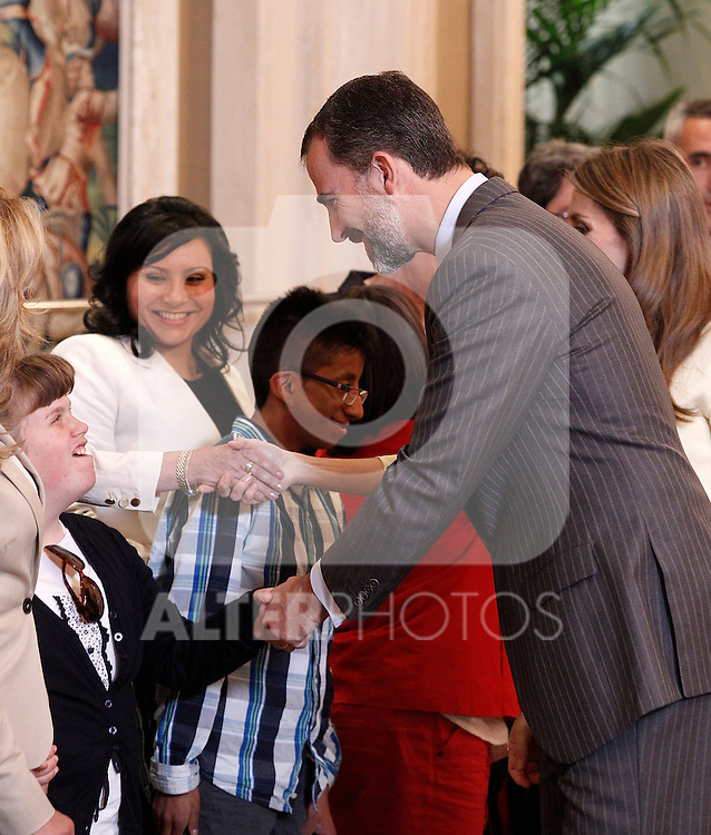 "Princes Felipe of Spain attends in audience a representation of the Public School for Special Education ""Pilar Soubrier"".May 22 ,2012. (ALTERPHOTOS/Acero)"