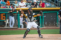 Charlie Cutler (37) of the Salt Lake Bees during a pitching change against the Colorado Springs Sky Sox in Pacific Coast League action at Smith's Ballpark on May 24, 2015 in Salt Lake City, Utah.  (Stephen Smith/Four Seam Images)