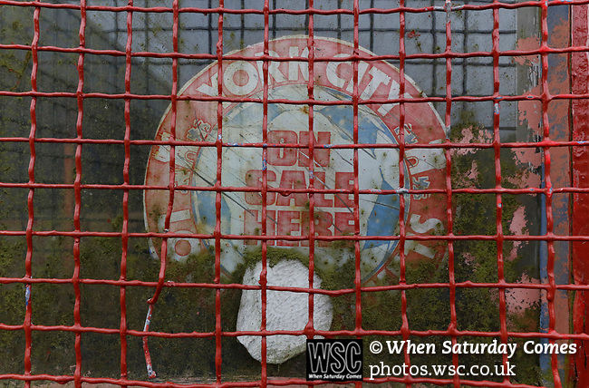 York City 2 Spennymoor Town 2, 20/01/2018. Bootham Crescent, National League North. A faded sticker in a kiosk window at Bootham Crescent.  Photo by Paul Thompson.
