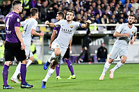 Alessandro Florenzi of AS Roma celebrates after scoring the goal of 1-1 during the Serie A 2018/2019 football match between ACF Fiorentina and AS Roma at stadio Artemio Franchi, Firenze, November 03, 2018 <br />  Foto Andrea Staccioli / Insidefoto
