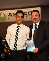 Thursday 16 May 2013<br /> Pictured: Neil Taylor (R)<br /> Re: Swansea City FC footballer of the year awards dinner at the Liberty Stadium.