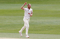 Jamie Porter of Essex  celebrates taking the wicket of Darren Stevens  during Kent CCC vs Essex CCC, Friendly Match Cricket at The Spitfire Ground on 27th July 2020