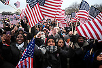 Supporters celebrate the Second Inauguration of President Barack Obama from the National Mall on Jan. 21, 2013.