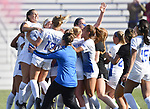 St. Louis University players celebrate after defeating George Washington 3-1 in the championship game of the Atlantic 10 Conference Women's Soccer Tournament at Robert Hermann Stadium at St. Louis University on Sunday November 10, 2019.<br /> Photon by Tim Vizer