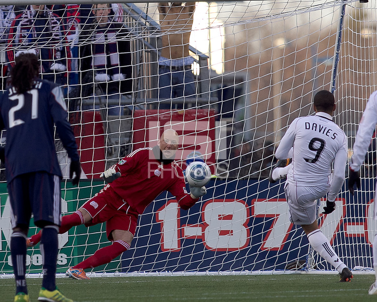 DC United forward Charlie Davies (9) scores on a penalty kick. In a Major League Soccer (MLS) match, the New England Revolution defeated DC United, 2-1, at Gillette Stadium on March 26, 2011.