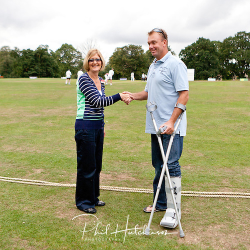 CLUADE HENDERSON, Captain of LeicsCCC, and DIANE MORRIS fundraising manager for the LOROS Charity. ..... SEPT 2011 ..... ALL-STARS CHARITY CRICKET ..... Rothley Park CC