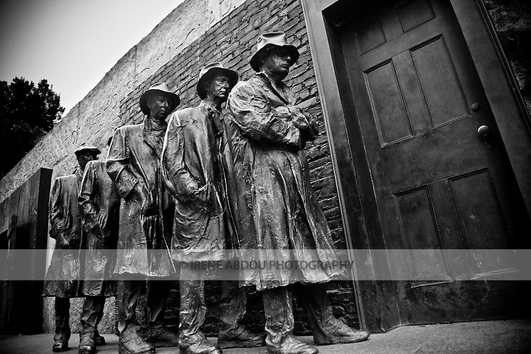The Franklin Delano Roosevelt (FDR) Memorial in Washington, DC houses four outdoor galleries, or rooms, each one commemorating a different segment of his presidency.  In the second room, the line of statues signify an urban breadline.