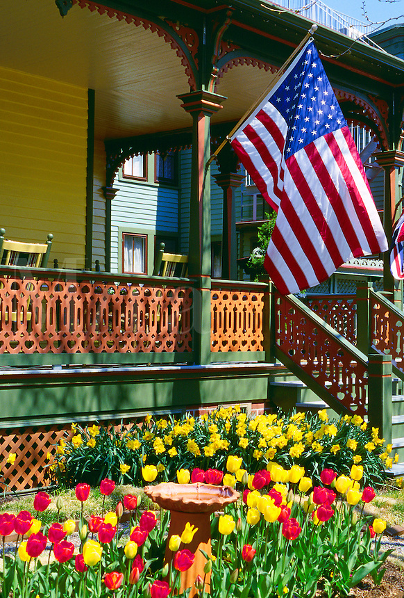 Architectural detail of the front porch of a Victorian house. New Jersey.