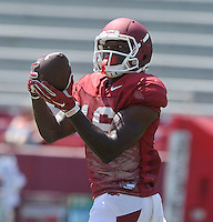 NWA Democrat-Gazette/MICHAEL WOODS &bull; @NWAMICHAELW<br /> University of Arkansas receiver La&rsquo;Michael Pettway runs drills during practice Saturday, August 15, 2015 at Razorback Stadium in Fayetteville.