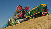 The Soyuz TMA-05M spacecraft is rolled out by train on its way to the launch pad at the Baikonur Cosmodrome in Kazakhstan, Thursday, July 12, 2012.  The launch of the Soyuz spacecraft with Expedition 32 Soyuz Commander Yuri Malenchenko, NASA Flight Engineer Sunita Williams and JAXA (Japan Aerospace Exploration Agency) Flight Engineer Akihiko Hoshide is scheduled for the morning of Sunday, July 15, local time.  .Mandatory Credit: Carla Cioffi / NASA via CNP