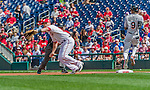 20 September 2015: Washington Nationals first baseman Tyler Moore is pulled off the bag on a first inning play against the Miami Marlins at Nationals Park in Washington, DC. The Nationals defeated the Marlins 13-3 to take the final game of their 4-game series. Mandatory Credit: Ed Wolfstein Photo *** RAW (NEF) Image File Available ***
