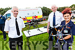 Taking part in the Table Top Inter Agency Emergency Service Exercises on Valentia at the weekend were l-r; John Draper(Divisional Controller Valentia Radio Station), Tom Brosnan(CDO Kerry) & Annemarie Lynch(Cahersiveen CDU) pictured here with some of the Drones being used by the Civil Defence to aid in search operations.