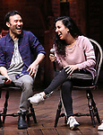 """Marc delaCruz and Gabriella Sorrentino during the Q & A before The Rockefeller Foundation and The Gilder Lehrman Institute of American History sponsored High School student #EduHam matinee performance of """"Hamilton"""" at the Richard Rodgers Theatre on 4/03/2019 in New York City."""
