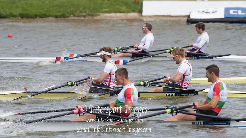 Poznan. Poland. GBR M2X, bow John COLLINS and Jonny WALTON, semi-final A/B. FISA 2015 European Rowing Championships. Venue Lake Malta. 30.05.2015. [Mandatory Credit: Peter Spurrier/Intersport-images.com]