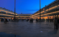 St Marks square at night, Venice, Italy.