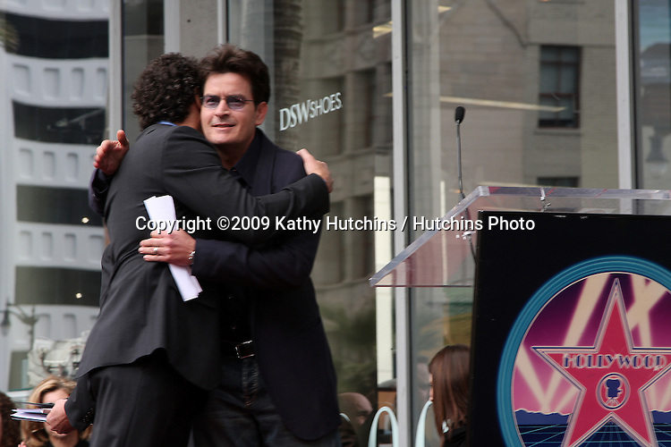 Chuck Lorre & Charlie Sheen  at the Hollywood Walk of Fame Ceremony for Chuck Lorre (TV Writer & Producer)  in Los Angeles , CA on  March 12, 2009 .©2009 Kathy Hutchins / Hutchins Photo...                .