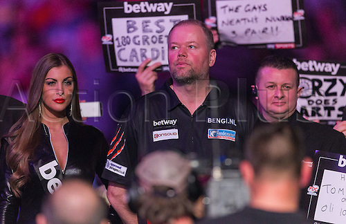 31.03.2016. The Motorpoint Arena, Cardiff.  Betway PDC Premier League Darts Judgement Night. Raymond Van Barneveld ready for his walk on