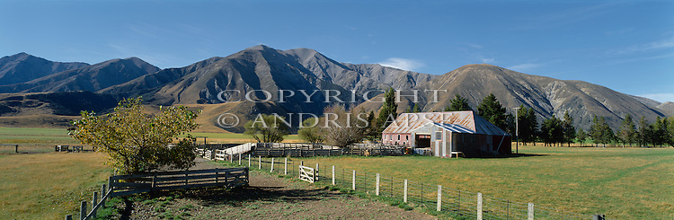 Castle Hill Station.Torlesse mountain range in background. Canterbury Region. New Zealand.