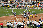 Oakland Raider's RB Darren McFadden taking a handoff vs the Pittsburg Steelers. <br />