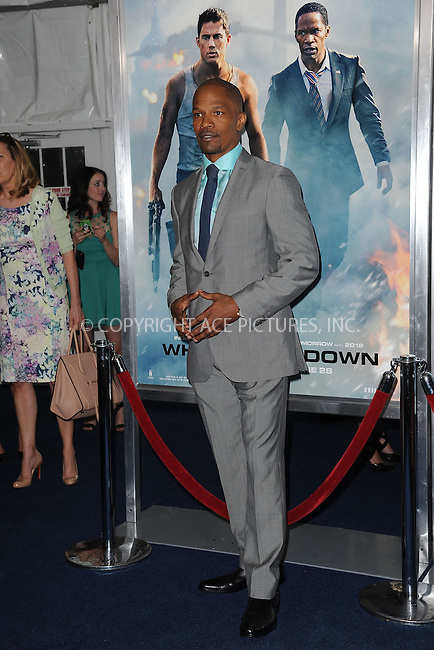 WWW.ACEPIXS.COM<br /> June 25, 2013...New York City <br /> <br /> Jamie Foxx attending 'White House Down' New York Premiere at Ziegfeld Theater on June 25, 2013 in New York City.<br /> <br /> Please byline: Kristin Callahan... ACE<br /> Ace Pictures, Inc: ..tel: (212) 243 8787 or (646) 769 0430..e-mail: info@acepixs.com..web: http://www.acepixs.com