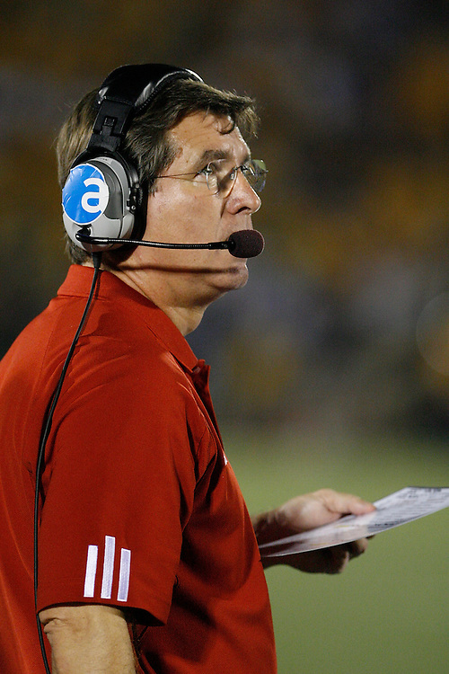 Nebraska Cornhuskers Head Coach Bill Callahan looks up at the scoreboard as his team falls behind at Memorial Stadium in Columbia, Missouri on October 6, 2007. The Tigers won 41-6.