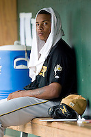 West Virginia starting pitcher Jeremy Jeffress (45) sits in the dugout after giving up 6 unearned runs in 4 innings of work versus Greenville at West End Field in Greenville, SC, Sunday, July 1, 2007.