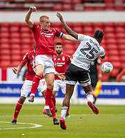 7th July 2020; City Ground, Nottinghamshire, Midlands, England; English Championship Football, Nottingham Forest versus Fulham; Ben Watson (C) of Notts Forest tussles with  Joshua Onomah of Fulham