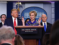 Dr. Deborah L. Birx, White House Coronavirus Response Coordinator, delivers remarks on the COVID-19 (Coronavirus) pandemic alongside US President J. Donald Trump and US Vice President Mike Pence in the Brady Press Briefing Room at the White House in Washington, DC on Wednesday, March 18, 2020.       <br /> Credit: Kevin Dietsch / Pool via CNP/AdMedia