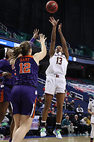 GREENSBORO, NC - MARCH 6: Taylor Soule of Boston College shoots the ball during a game between Clemson and Boston College at Greensboro Coliseum on March 6, 2020 in Greensboro, North Carolina.