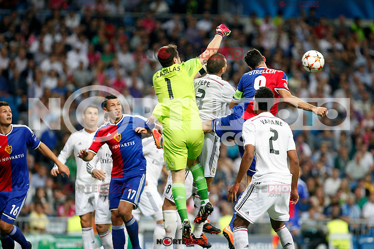 Iker Casillas, Varane of Real Madrid and Streller of FC Basel 1893 during the Champions League group B soccer match between Real Madrid and FC Basel 1893 at Santiago Bernabeu Stadium in Madrid, Spain. September 16, 2014. (ALTERPHOTOS/Caro Marin) /NortePhoto.com