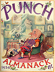 "Front cover of , "" Punch Almanack , 1934 ""  showing Mr Punch relaxing in his chair with his dog , Toby lying by his feet ...Illustrated by EH shepard..."