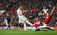 Pictured: (L-R) Chico Flores, Nemanja Vidic, Phil Jones.<br /> Sunday 12 May 2013<br /> Re: Barclay's Premier League, Manchester City FC v Swansea City FC at the Old Trafford Stadium, Manchester.