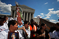 People Protestes against Arizona's immigration law SB1070 rally outside of the Supreme Court. .Young Hispanic activists who promote the DREAM Act, represent an important base of support for Obama, as immigration becomes a decisive issue in the upcoming election. 2012 in Washington United States. 26/04/2012. Photo by Joana Toro/VIEWpress.
