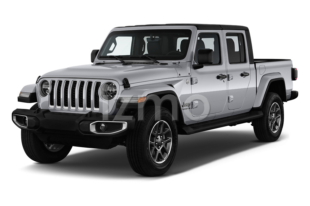 2020 Jeep Gladiator Overland 4 Door Pick Up angular front stock photos of front three quarter view