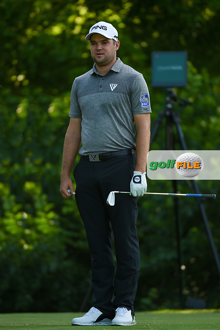 Corey Conners (CAN) looks over his tee shot on 8 during round 3 of the 2019 Charles Schwab Challenge, Colonial Country Club, Ft. Worth, Texas,  USA. 5/25/2019.<br /> Picture: Golffile | Ken Murray<br /> <br /> All photo usage must carry mandatory copyright credit (© Golffile | Ken Murray)