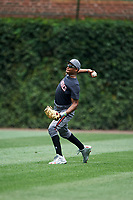 Quentin Holmes (70) of Monsignor McClancy Memorial High School in East Elmhurst, New York during practice before the Under Armour All-American Game presented by Baseball Factory on July 23, 2016 at Wrigley Field in Chicago, Illinois.  (Mike Janes/Four Seam Images)