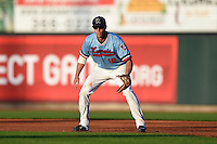 Cedar Rapids Kernels first baseman Chad Christensen (18) during a game against the Quad Cities River Bandits on August 19, 2014 at Perfect Game Field at Veterans Memorial Stadium in Cedar Rapids, Iowa.  Cedar Rapids defeated Quad Cities 5-3.  (Mike Janes/Four Seam Images)