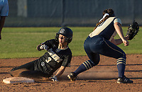 NWA Democrat-Gazette/BEN GOFF @NWABENGOFF<br /> Jenna Wildeman (3) of Bentonville steals second ahead of a pickoff throw to Alyssa Cordell, Bentonville West second baseman, in the top of the 6th inning Tuesday, April 10, 2018, during the game at Bentonville West's Wolverine Athletic Complex in Centerton.