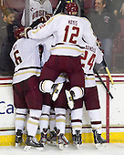 Patrick Wey (BC - 6), Brendan Silk (BC - 9), Teddy Doherty (BC - 4), Kevin Hayes (BC - 12), Bill Arnold (BC - 24) - The Boston College Eagles defeated the visiting Boston University Terriers 5-2 on Saturday, December 1, 2012, at Kelley Rink in Conte Forum in Chestnut Hill, Massachusetts.