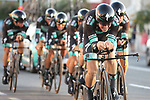 Bora-Hansgrohe in action during Stage 1 of La Vuelta 2019, a team time trial running 13.4km from Salinas de Torrevieja to Torrevieja, Spain. 24th August 2019.<br /> Picture: Luis Angel Gomez/Photogomezsport | Cyclefile<br /> <br /> All photos usage must carry mandatory copyright credit (© Cyclefile | Luis Angel Gomez/Photogomezsport)
